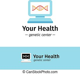 Vector flat medical center logo DNA diagnostic logotype...