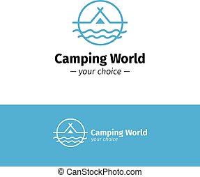 Vector outline camping logo. Tent on a river hipster logotype