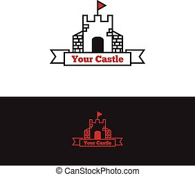 Clip Art Vector of Medieval red knight flag with gold lily icon in ...