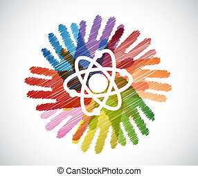 science atom over diversity hands circle illustration design...