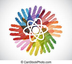 science atom over diversity hands circle illustration design...