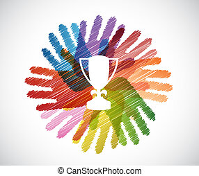 trophy over diversity hands circle