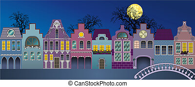 Houses 1 - Fantasie of medieval houses (nite)