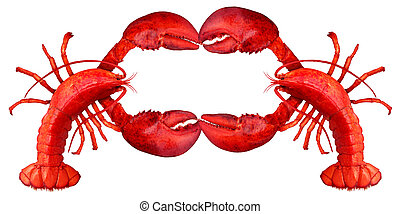 Lobster Blank Sign - Lobster blank sign with claws creating...