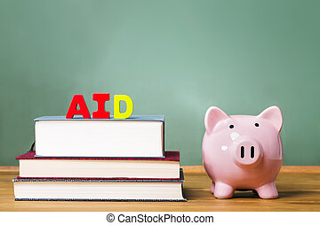 Student aid theme with textbooks and piggy bank and...