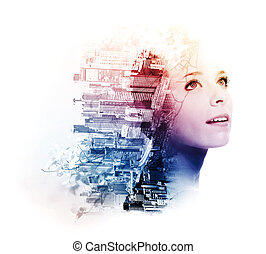 Double exposure of young woman with metropolis and doogwood...