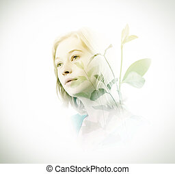 Double exposure of woman with green leaves - Double exposure...