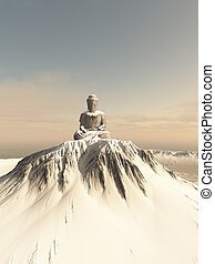 Snow Covered Mountain Buddha - Illustration of a giant...