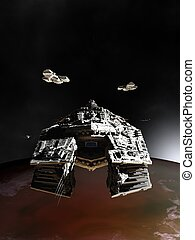 Spaceships in Orbit - Science fiction illustration of...