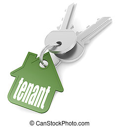 Keychain with tenant word image with hi-res rendered artwork...