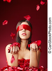 Aroma and feelings - Charming girls blindfold with falling...