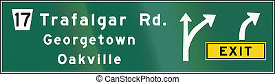 Guide road sign in Ontario - Canada - A Guide road sign with...