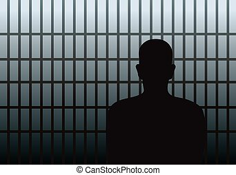 Prisoner behind the bars - Vector illustration of a man in...