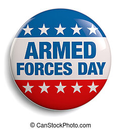 Armed Forces Day round badge isolated on white.