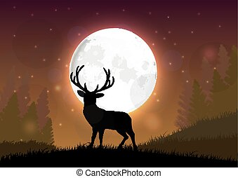 Silhouette of a deer standing - Illustration of Silhouette...