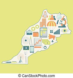 Map of morocco with technology icon - Contour map of Morocco...