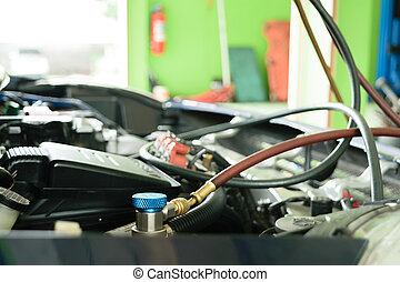 Car refilling air condition in air shop