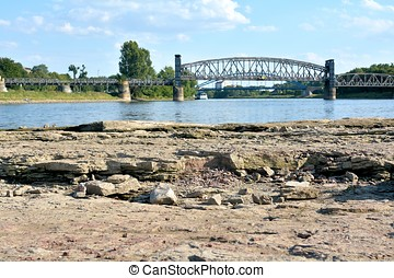 Elbe near Magdeburg - the dry riverbed of the Elbe near...