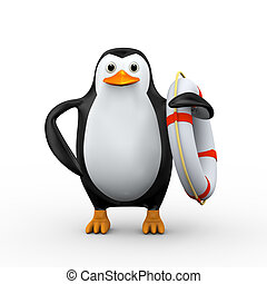 3d penguin with life preserver lifebuoy ring - 3d...