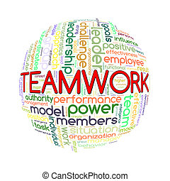 Wordcloud word tags ball of team work