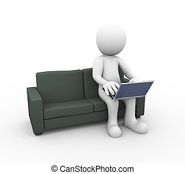 3d man with laptop on sofa