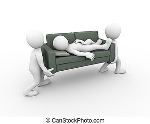 3d people carrying sleeping man on sofa