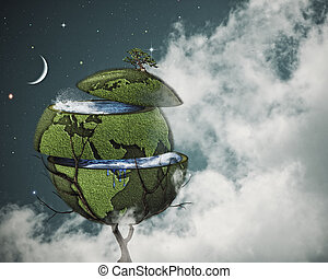 Global warming concept Sliced Earth on the world tree...