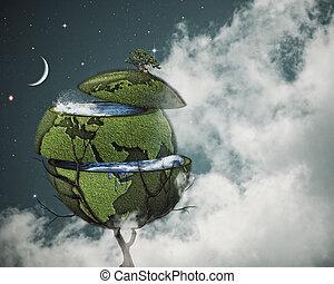 global, warming, concept., cortado, terra, ligado, a, mundo,...