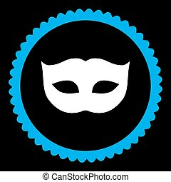 Privacy Mask flat blue and white colors round stamp icon