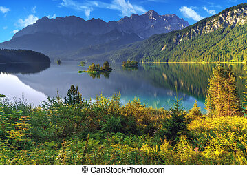 Eibsee - Fantastic sunny day on mountain lake Eibsee,...