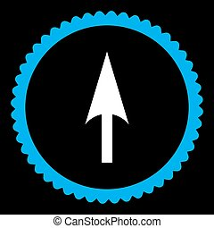 Arrow Axis Y flat blue and white colors round stamp icon -...