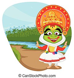 Kathakali dancer wishing Happy Onam in vector