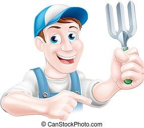 Pointing Garden Fork Man