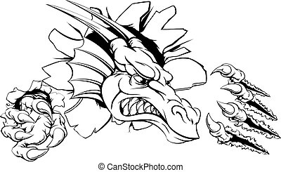 Dragon ripping through wall