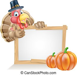 Thanksgiving Pilgrim Hat Turkey Pumpkin Sign - Thanksgiving...