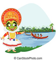 Kathakali dancer doing boat race of Kerala for Onam...