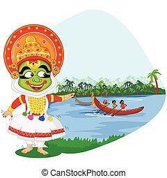 Kathakali dancer doing boat race of Kerala for Onam...