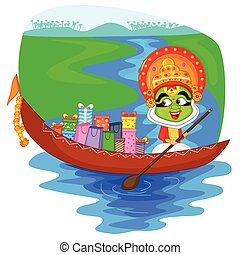 Kathakali dancer offering shopping sale for Onam in vector