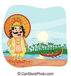 King Mahabali for Onam festival in vector