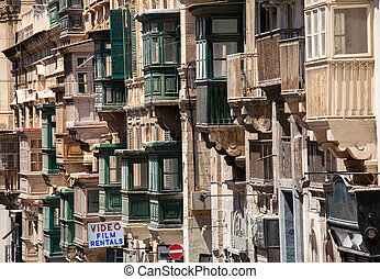 Balconies - VALLETTA, MALTA - JULY 17: Typical balconies in...