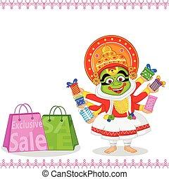 Kathakali dancer offering shopping sale for Onam in vector