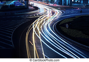 shanghai - light trails on the street in shanghai ,China.