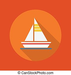 Travel Flat Icon. Sail boat - Travel Flat Icon With Long...