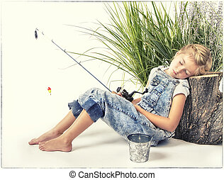 Child or young girl taking a nap or sleeping while fishing,...