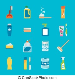Vector hygiene and cleaning products flat icons. Cleaner and...