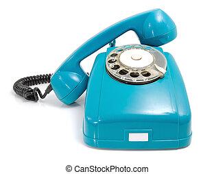 teléfono, tomado, de, Microteléfono