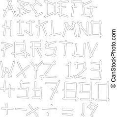 Vector illustration black polka dot spotted alphabet...