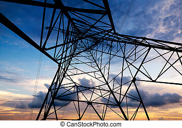 Pylons - high voltage postHigh-voltage tower sky background...