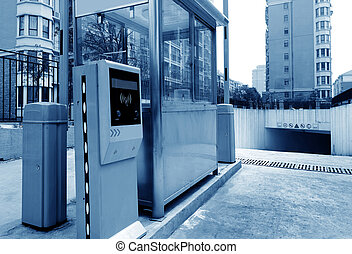 Underground car park entrance - Tollbooth in underground car...