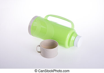 Thermo, Plastic Thermo flask on background - Thermo, Plastic...
